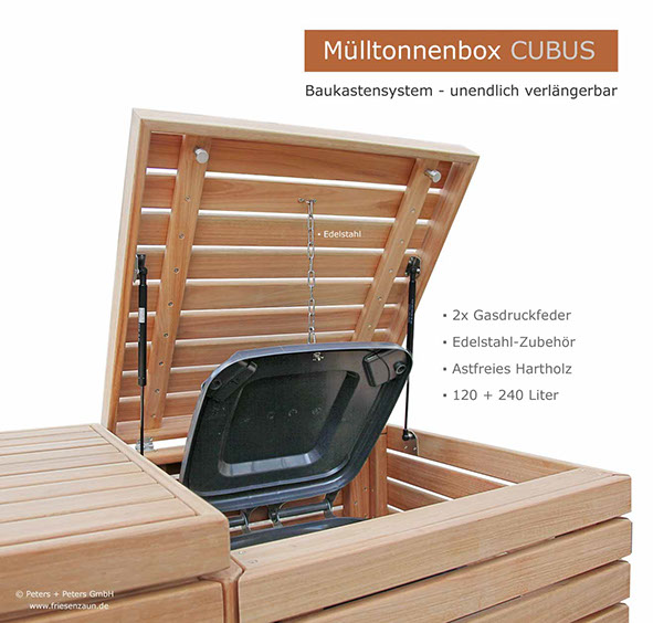 moderner m lltonnenschrank cubus gasdruckfedern eukalyptus hartholz zubeh r aus edelstahl. Black Bedroom Furniture Sets. Home Design Ideas